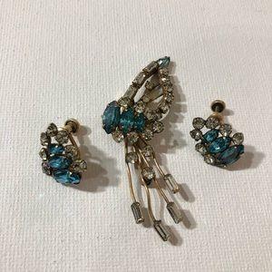Vintage D'eri Brooch & Earrings 12k GF